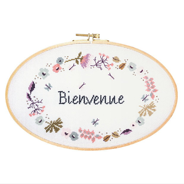 刺繍 輸入キット RICO 「Bienvenne」(刺しゅう枠付) 【メール便可】