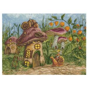 輸入刺繍キット PANNA Back Home お家へ帰ろう カタツムリに乗って|VS-1897 童話 物語 こども キノコの家
