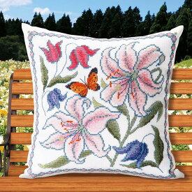 刺繍 オノエ・メグミ 花咲く庭の小さな物語 カサブランカと蝶|オリムパス 刺繍キット 6061 刺しゅうキット ゆり クッション チョウ ちょうちょ