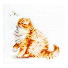 刺繍 輸入キット Luca-S(ルーカス) アニマル Kitten with a Dragonfly (子猫とトンボ) 【メール便可】