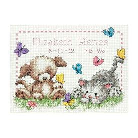 刺繍 Dimensions 70-73833 Pet Friends Birth Record ベビー かわいい こども こいぬ