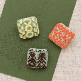 こぎん刺しキット フォークロア くるみボタン(3個セット) | 刺繍 刺しゅう オリムパス ハンドメイド
