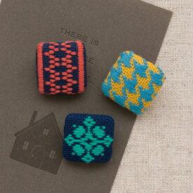 こぎん刺しキット モダン くるみボタン(3個セット) | 刺繍 刺しゅう オリムパス ハンドメイド