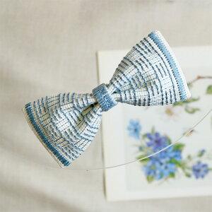 戸塚刺しゅう 地刺しキット リボン型の髪飾り アイスブルー | 刺繍 リボンのバレッタ アイスブルー 地刺しの連続模様2 カウントステッチ おしゃれ かわいい