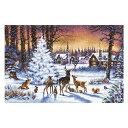 刺繍 LETISTITCH Christmas Wood クリスマスツリー 森の動物|947 トナカイ クリスマスの夜 雪 輸入キット