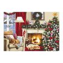 輸入刺繍 クロスステッチキット Luca-s Christmas interior クリスマスインテリア|B591 クリスマスツリー 猫 暖炉