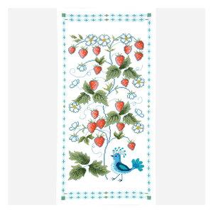刺繍キット オリムパス オノエ・メグミ テーブルセンター ワイルドストロベリーと鳥 1203 テーブルクロス クロスステッチ いちご