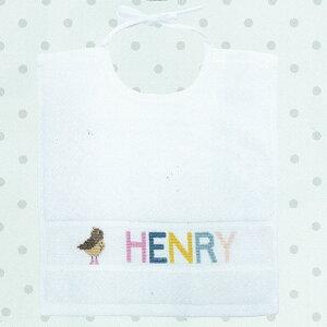 輸入 刺繍キット RICO Baby bib 白 小鳥 クロスステッチ 材料セット|スタイ ベビーキット 出産祝い プレゼント