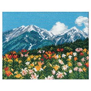 COSMO クロスステッチキット めぐる季節と日本の風景 百合の花と北アルプス 522002 | 刺繍キット 9カウント 6本取り 刺しゅう キット 景色 ゆり 山 夏