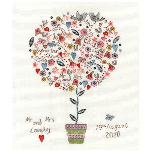 輸入刺繍キット Bothy Threads XKA16 Love Vows 愛の誓い | 刺繍キット クロスステッチ キット 愛の木 小鳥 ウェディング 植木