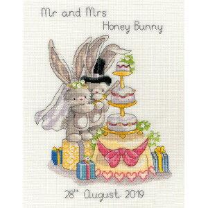 輸入刺繍キット Bothy Threads XBB8 Cutting The Cake ウサギのウェディング ケーキカット   刺繍キット クロスステッチ キット うさぎ 結婚 お祝い