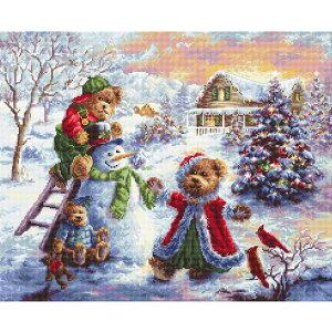 輸入 刺繍キット LETISTITCH 970 Fun Loving Merriment クリスマスの楽しい遊び | クロスステッチ 刺しゅうキット テディベア スノーマン 刺しゅう キット
