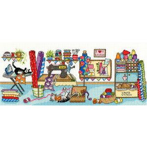 輸入刺繍キット Bothy Threads(ボシースレッズ) Sewing Fun(楽しいソーイング) XJR38 | クロスステッチ 刺繍キット ねこ ネコ 刺しゅうキット ブシー