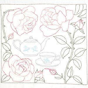 刺し子キット 花ふきん SASHIKO WORLD England バラに囲まれたティータイム KSW-025 | 手縫いの花ふきんキット 刺し子 ワールド イングランド イギリス 刺繍キット