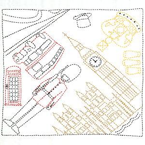 刺し子キット 花ふきん SASHIKO WORLD England 2階建てバスに乗って KSW-027 | 手縫いの花ふきんキット 刺し子 ワールド イングランド イギリス 刺繍キット