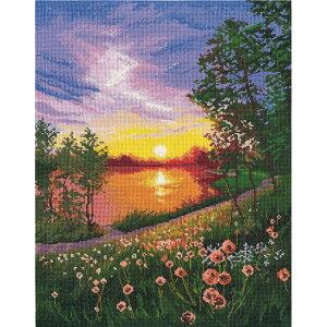 輸入キット Summer sunset 夏の夕焼け 999 Oben クロスステッチキット | 刺繍キット 刺しゅう キット 景色 風景 サマーサンセット 日暮れ 日没
