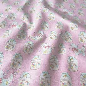 【2月は当店ずっとポイント10倍!要エントリー】◆KOKKA Fancy pop ネコとキャンディー シーチング 生地 (10cm単位) LGA-21060 (メール便可)