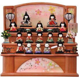 雛人形 ひな人形 お雛様 おひなさま かわいい 手作り 2020年 新作 秀光 限定品 送料無料 コンパクト ミニ 初節句 ひな祭り 木目込 一秀 十五人 15人 収納 段 三段 3段 桜 さくら 買得 お得 人気 ランキング P82424