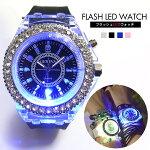 フェスやCLUBで目立つ!7色LEDウォッチ[腕時計/アクセサリー/シリコンベルト/ブレスレット/ブレスウォッチ/海/マリン/水着/]