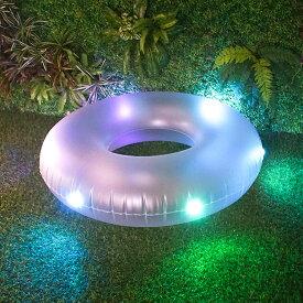 13色 光る 浮輪 LED 浮き輪 107cm リモコン付き [おもしろ かわいい 大人用 大人 子供 うきわ フロート ビッグサイズ インスタジェニック インスタ映え ナイトプール 海 プール 100cm 以上 あす楽]