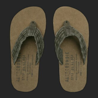 Abercrombie mens Beach Sandals SOFT FABRIC-LINED FLIP FLOPS olive (S, M, L, XL) (over 10,800 yen, who, in large size, 100% genuine, new, cheapest Rakuten to challenge! )