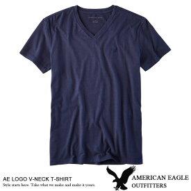 ■アメリカンイーグル メンズ Vネック Tシャツ AE LOGO V-NECK T-SHIRT ネイビー (1177-9228) S M L XL ラッピング 無料! あす楽 3980円以上 送料無料 ! メンズ かっこいい ギフト にも! 大きいサイズ あり! 秋物 冬物 新作 入荷! プレゼント にも!