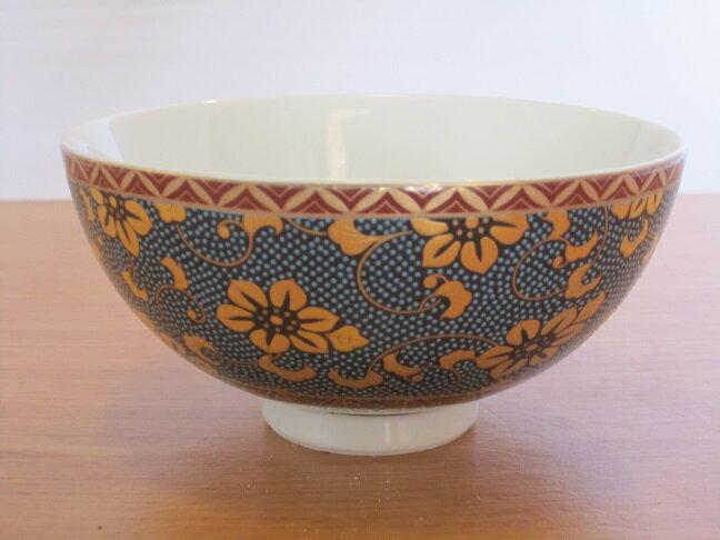 【九谷焼】 飯碗(お茶碗) 青粒鉄仙文