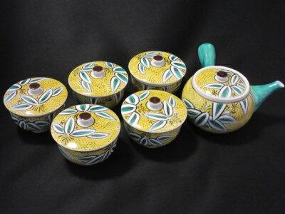 【九谷焼】蓋付茶器(九谷焼茶器セット茶器揃ポット急須湯呑みセット湯呑)吉田屋笹