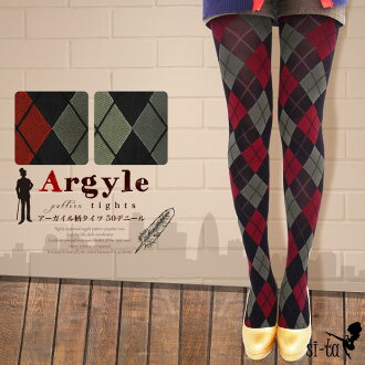Argyle pattern tights 80 denier red grey (size M-l) tights color tights tights pantyhose stretches a good thick sturdy girly casual