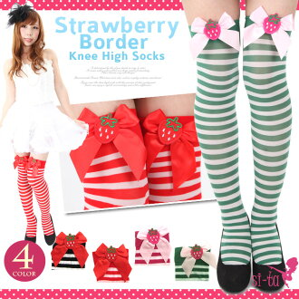 Strawberry border knee high socks Strawberry Strawberry Strawberry garter stockings knee high Ness socks thigh striped sheer
