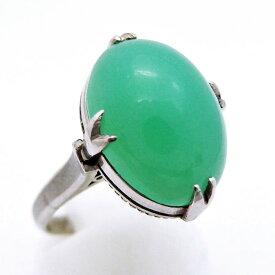 Pt900 ★リング 指輪 ◆クリソプレーズ シンプル ●10.5号 ■ソーティング付き 【中古】 21712