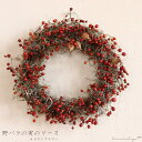 野バラの実のリース ◆大人気の野バラの実のシックで大人っぽいシンプルなドライフラワーリース ◆クリスマス飾りにも♪