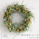 野の花のリース イエロー * 直径25cmベースの大きめサイズ♪10種類ものドライフラワーを使用したイエローグリーンの…