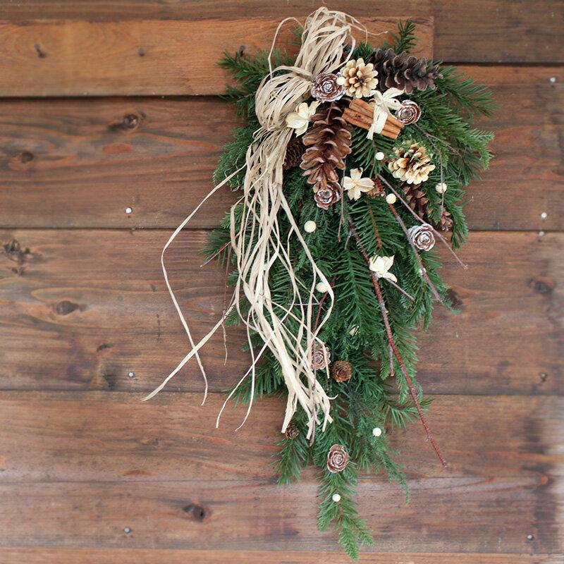 送料無料 * クリスマススワッグ 玄関ドアをクリスマスに♪/ クリスマス ナチュラル 飾り ギフト 外用 プレゼント アレンジ 花 クリスマスリース