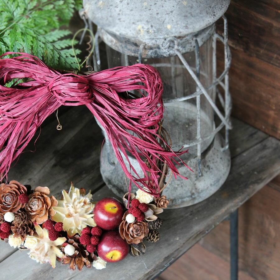 【送料無料】赤リンゴの外用リース★玄関に差をつけよう!どこにもなかったナチュラルでキュートなリース♪/クリスマスリース・りんご・ギフト・お祝い・お誕生日・お礼・ホワイトデー・プレゼント・母の日・敬老の日・結婚祝い・新築祝い・クリスマス