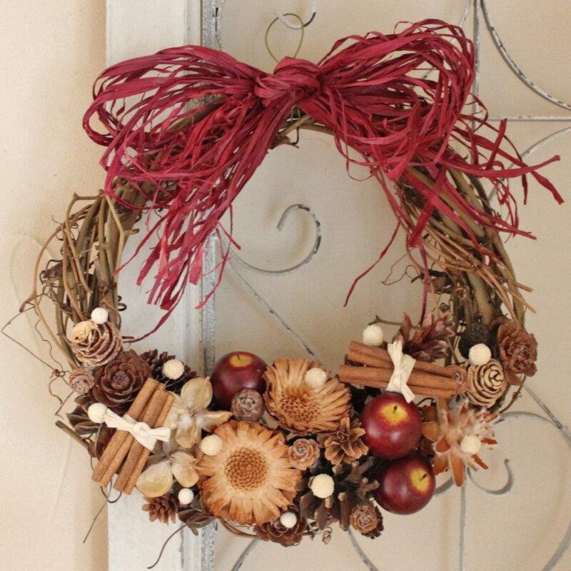 赤リンゴのリース L/玄関外用 大きい クリスマス 外用リース ウエディング 玄関ドア 誕生日 母の日 お祝い 結婚 ナチュラル素材 インテリア