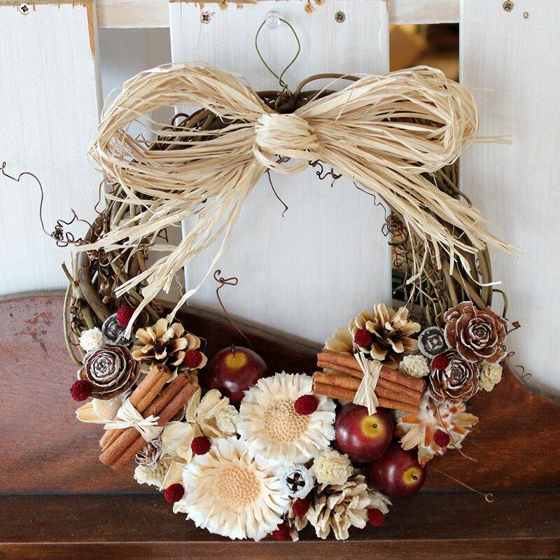 冬の赤リンゴリース L/玄関外用・クリスマス・ 外用リース ウエディング 玄関ドア 誕生日 母の日 お祝い 結婚 ナチュラル素材 インテリア