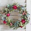 【送料無料】ローラのミニリース ◆ ラズベリーピンクのバラが上品でかわいいドライフラワーのミニリース * お祝い お誕生日 お礼 ホワイトデー プレゼント 母の日 結婚祝い 新築祝い ギフト インテリ