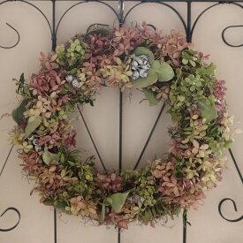 【 送料無料 】ミナヅキのリース* シックでナチュラルな大きいドライフラワーリース /あじさい お祝い お誕生日 プレゼント 母の日 ギフト 結婚祝い 新築祝い シンプル ウェルカムリース インテリア