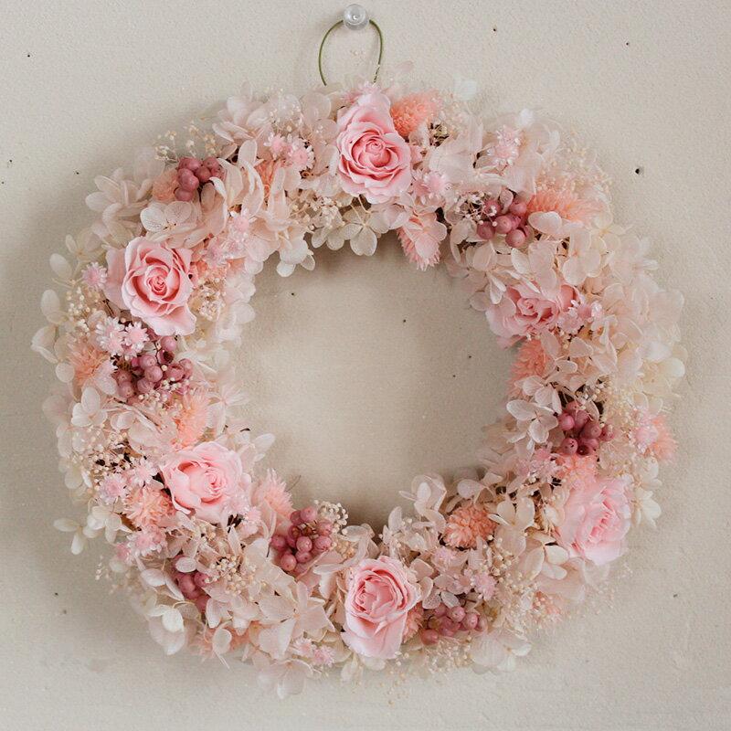 春爛漫ピンクのリース◆春にぴったり桜色のふわふわピンク♪プリザーブドフラワー 新築祝い 誕生日 母の日 敬老の日 ウェディング 結婚祝い ウェルカムリース インテリア ナチュラル
