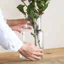 リューズガラス フラワーベース ネック / レトロ アンティーク調 ナチュラル インテリア ディスプレイ リサイクルガラス
