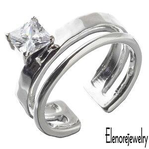 エレノアジュエリー Elenore Jewelry シルバー リング 指輪 スクエア ストーン カフ キュービックジルコニア レディース 9号 11号 13号 15号 ELR0063S