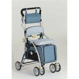 【フランスベッド】 ペットカート シルバーカー 【しま ブルー】 ブレーキ 杖ホルダー付き 『ラクティブペット』