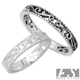 FREE STYLE【フリースタイル】リング 指輪 ペアー シルバー WH BK アラベスク 925 スターリングシルバー FSR-893B-W-P