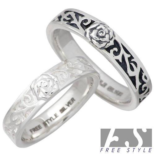 FREE STYLE【フリースタイル】リング 指輪 ペアー シルバー スカル ローズ 925 スターリングシルバー FSR-899B-W-P