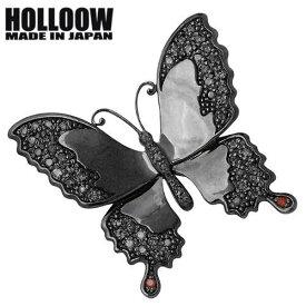 HOLLOOW【ホロウ】ピンブローチ レディース メンズ シルバー バタフライ キュービック ブラック 蝶 925 スターリングシルバー KHP-120BK