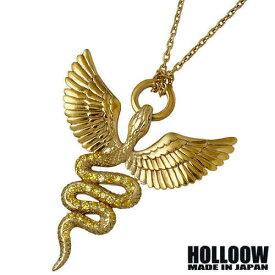 HOLLOOW【ホロウ】ネックレス メンズ シルバー ゴッド ゴールド キュービック ヘビ 蛇 ウィング 翼 925 スターリングシルバー KHP-285GD