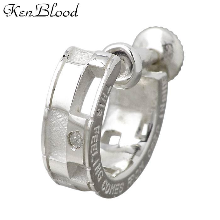 KEN BLOOD【ケンブラッド】ダイヤモンド メッセージ シルバー イヤリング 片耳用 KP-59E