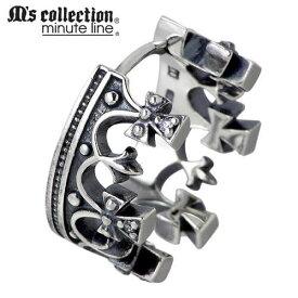 M's collection【エムズコレクション】 ピアス レディース メンズ シルバー 王冠フープ 1個売り 片耳用 クラウン クロス キュービック CZ 925 スターリングシルバー M0392