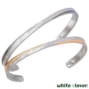 ホワイトクローバー white clover ステンレス ペア バングル ハワイアンジュエリー ダイヤモンド スクロール プルメリア アレルギーフリー サージカルステンレス316L 刻印可能 4SBG026BK-GO-P
